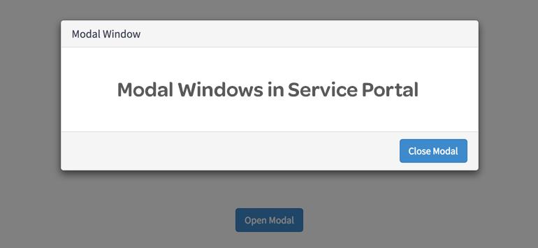 Modal Windows in Service Portal - ServicePortal io - Service